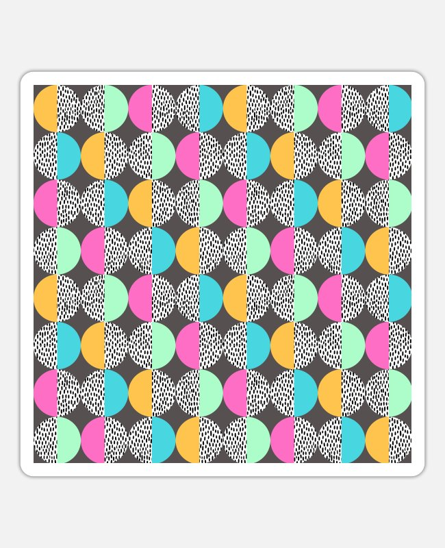 Gray Stickers - Pastel Shades Memphis Circles Pattern - Sticker white matte