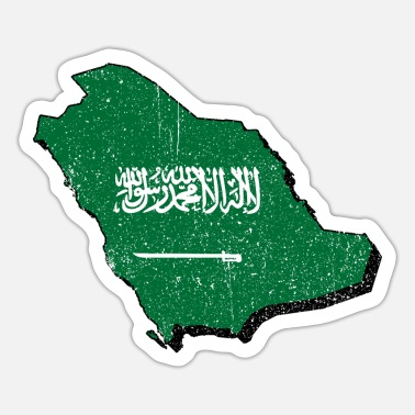 Jeddah Saudi Arabia map with flag - Sticker