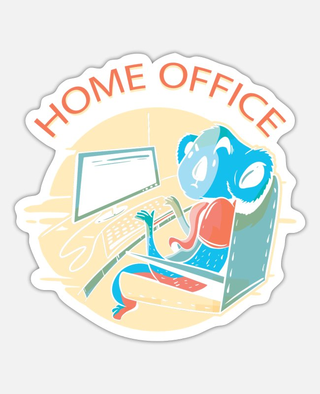 Office Stickers - Homework home office office video virus teleworking - Sticker white matte