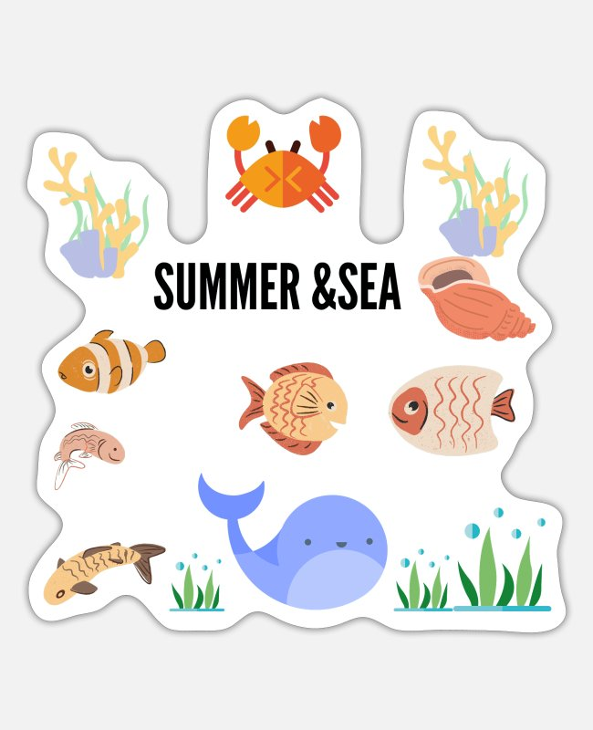 Water Stickers - SUMMER & SEA - Sticker white mat