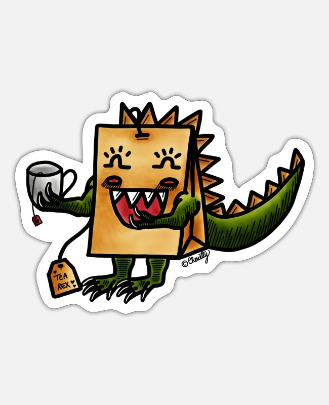 Tea Stickers - Tea Rex // T-Rex - Sticker white matte