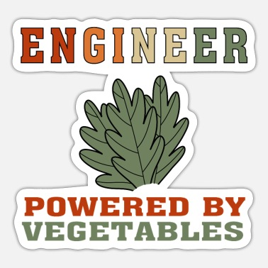 Vegan Engineer Funny Vegan Engineer Powered by Vegetables T Shirt - Sticker