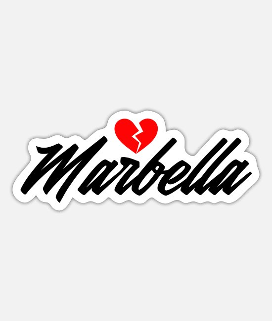 Vakantie Stickers - Marbella - Sticker mat wit