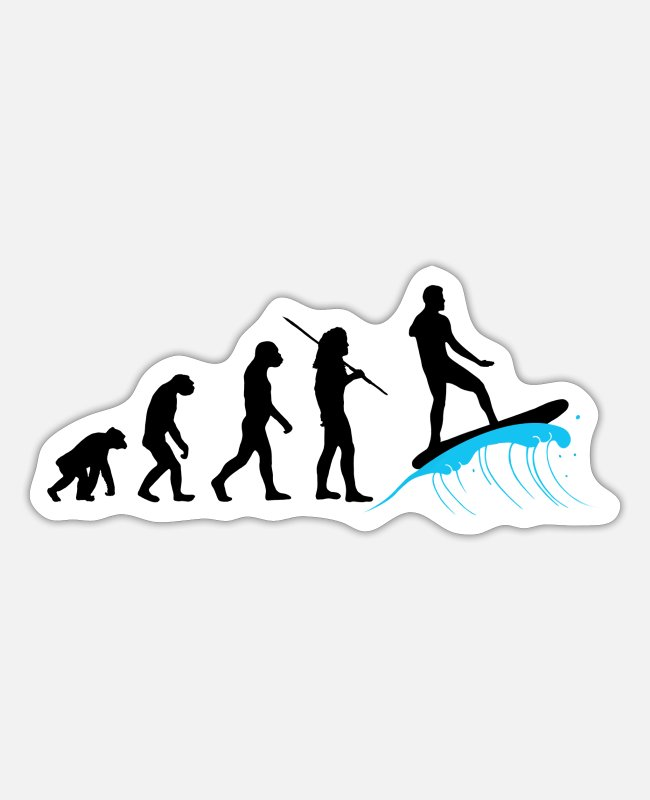 I Love Sticker - Evolution - Surfing - Sticker Mattweiß