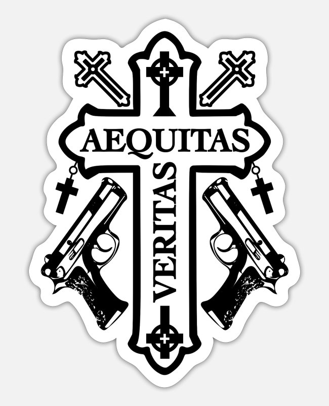 Gun Stickers - Aequitas Veritas Cross - Design 2 black - Sticker white matte