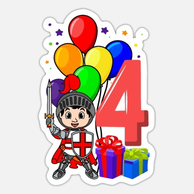 Knight Birthday Party Knight birthday shirt 4 years boy - Sticker