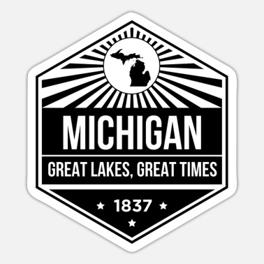 Vielfraß Michigan Michigan State Motto Design - Große Seen, Großartig - Sticker