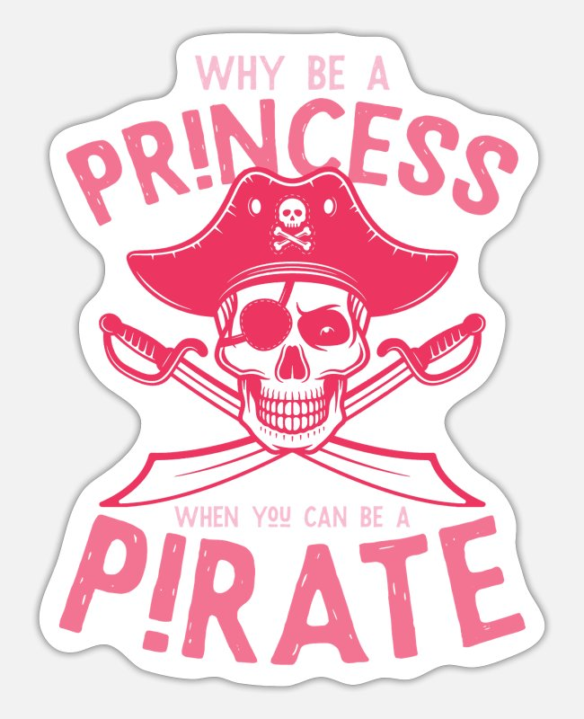 Pirate Girl Stickers - Princess Pirate Skull Skull - Sticker white matte