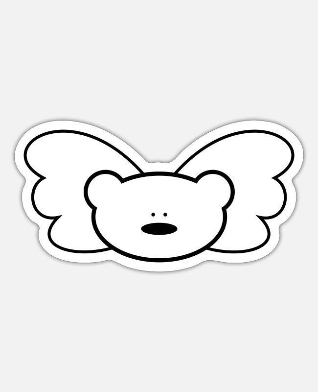 Fur Stickers - Funny teddy bear with wings - Sticker white mat