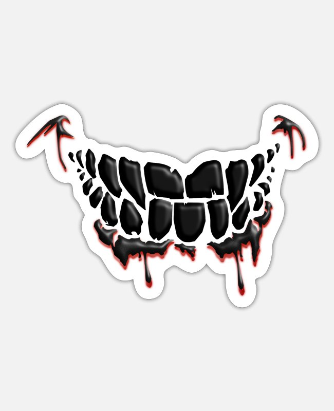 Grin Stickers - Mouth Guard Face Mask - Totenkopf Skull - Sticker white matte