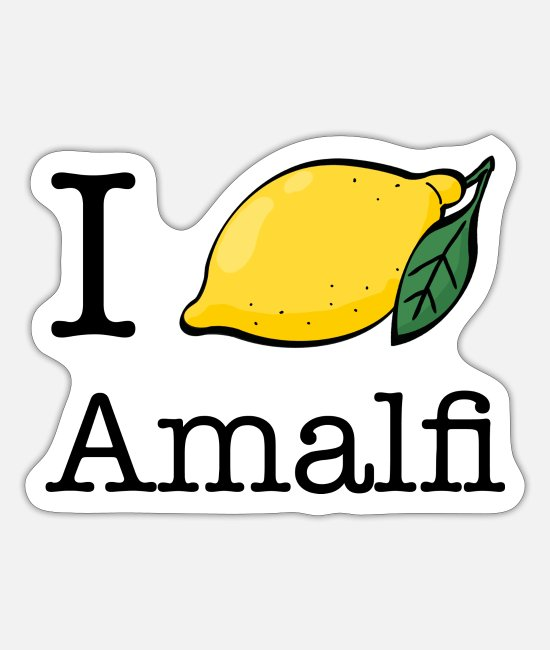 Vakantie Stickers - Amalfikust - I Lemon Love Amalfi - Ti amo Italië - Sticker mat wit