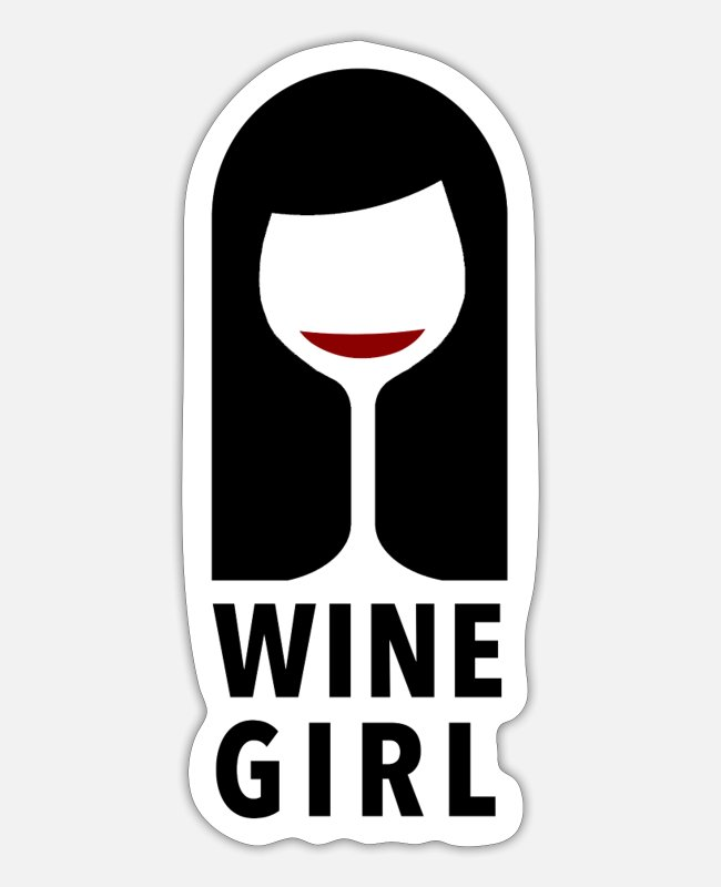 Christmas Stickers - Wine girl Wine - Sticker white mat