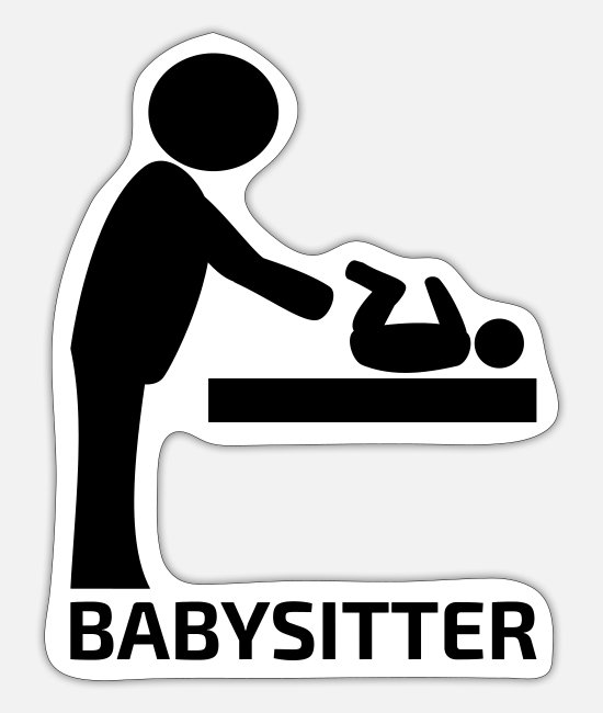 Pregnancy Stickers - Babysitter pictogram gift for mother father - Sticker white mat