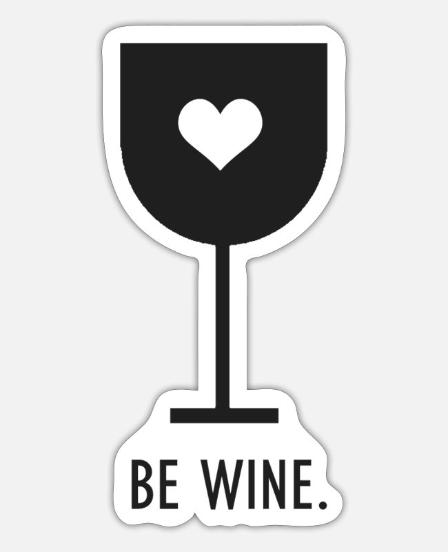 Christmas Stickers - Wine glass heart be wine | Wine - Sticker white matte