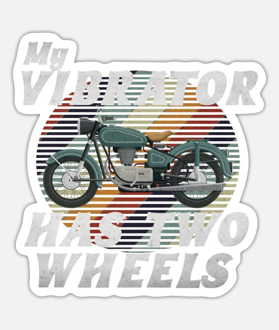 Road Bike Stickers - My Vibrator Has Two Wheels - Sticker white mat