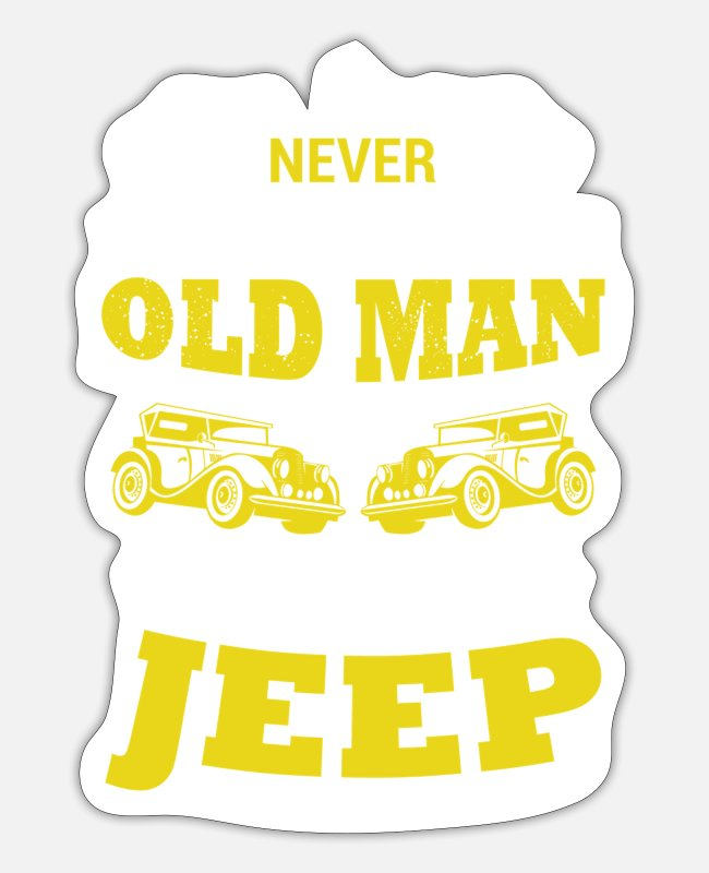 Vehicle Stickers - Jeep car old man gift - Sticker white matte