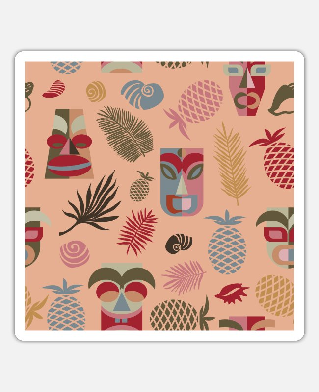 Pattern Stickers - Pattern with tiki masks on peach-pink - Sticker white mat
