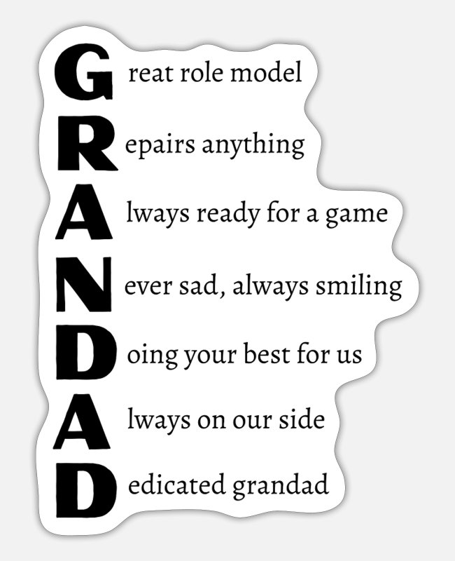 Grandpa Stickers - GRANDAD Original Poem in Black text - Sticker white matte