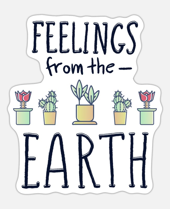 Nature Stickers - Feelings from the earth flowers plant cactus eco - Sticker white mat