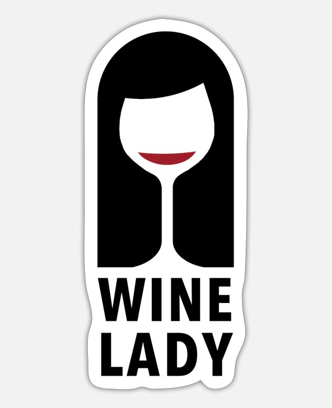Wine Lover Stickers - Wine girl Wine - Sticker white mat