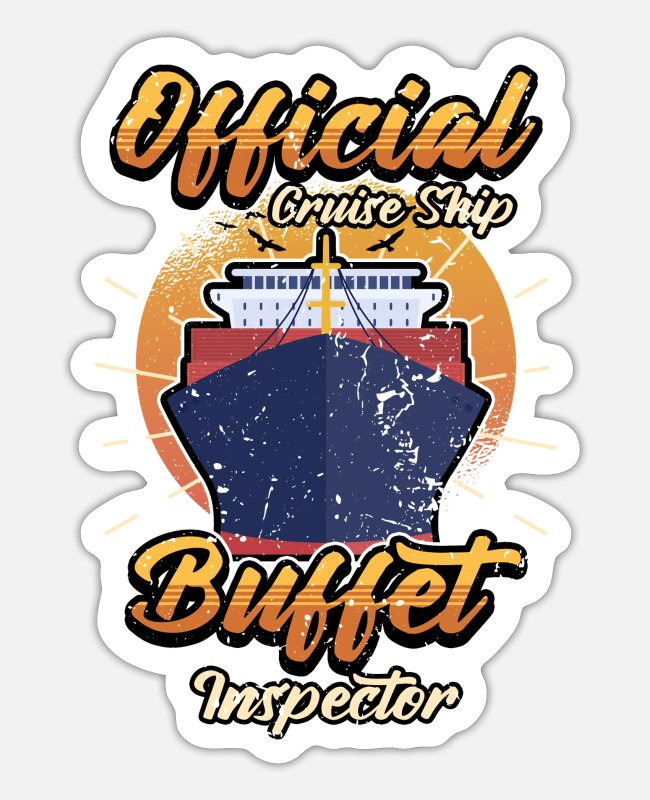 Travel Stickers - Funny cruise buffet ocean saying gift - Sticker white matte