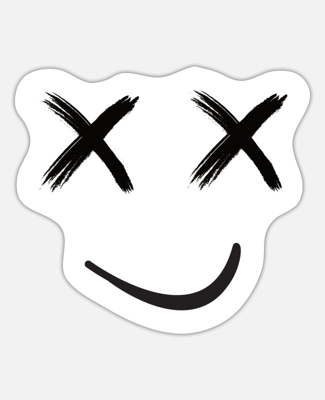 Grin Stickers - grinning face - Sticker white mat