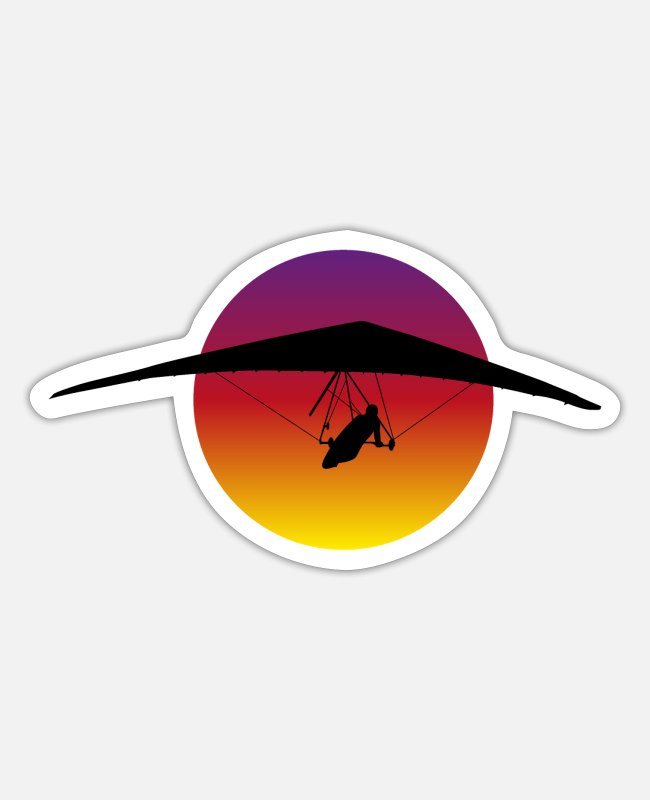 Mummy Stickers - Hang Gliding Hang Glider Hang Glider Retro - Sticker white matte