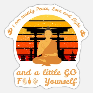 Spirituality Peace Light I Am Peace Love Fuck Yoga Meditation Buddha Sunset - Sticker
