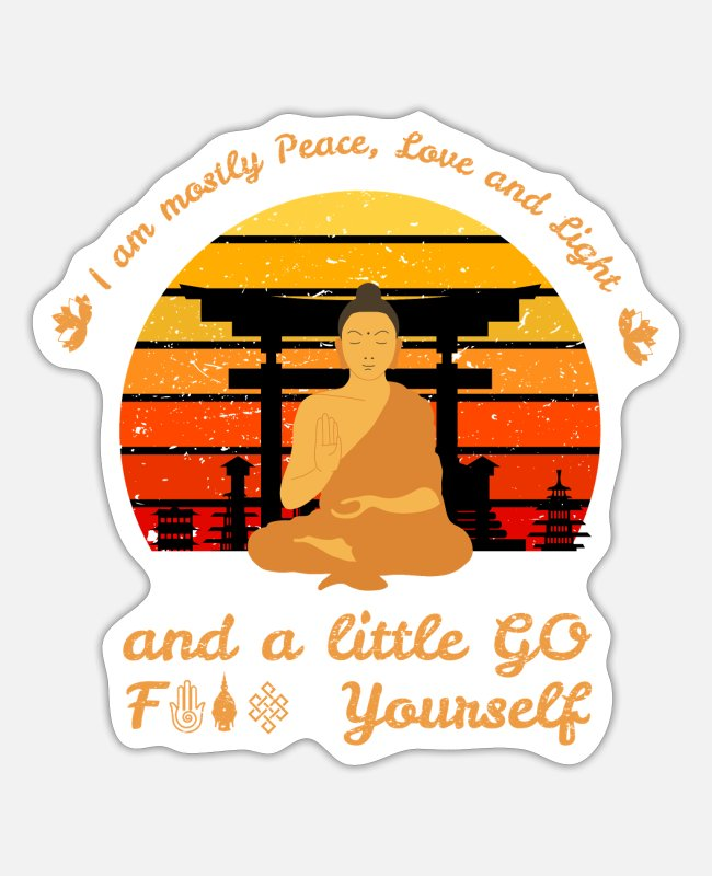 Namaste Sticker - I Am Peace Love Fuck Yoga Meditation Buddha Sunset - Sticker Mattweiß