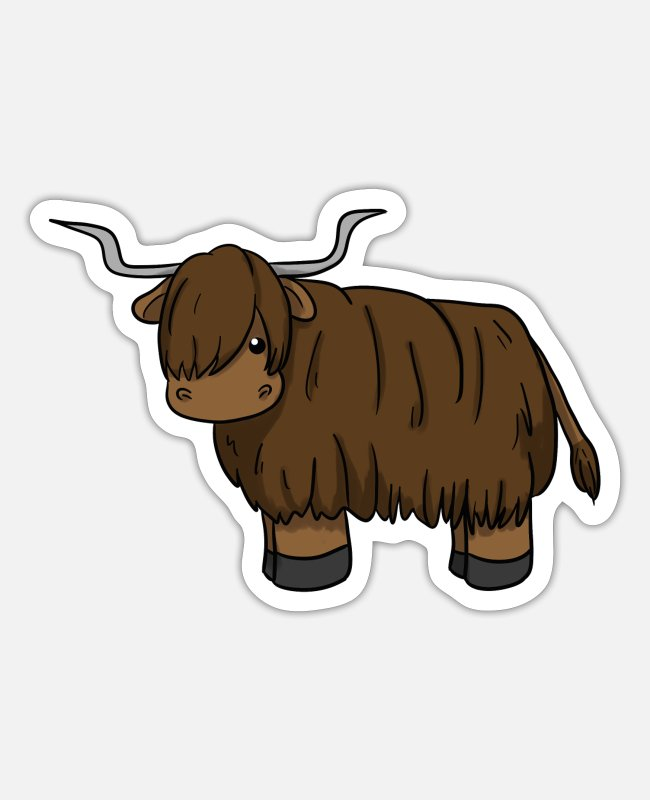Scottish Highland Sticker - Scottish Highland Cattle - Sticker Mattweiß