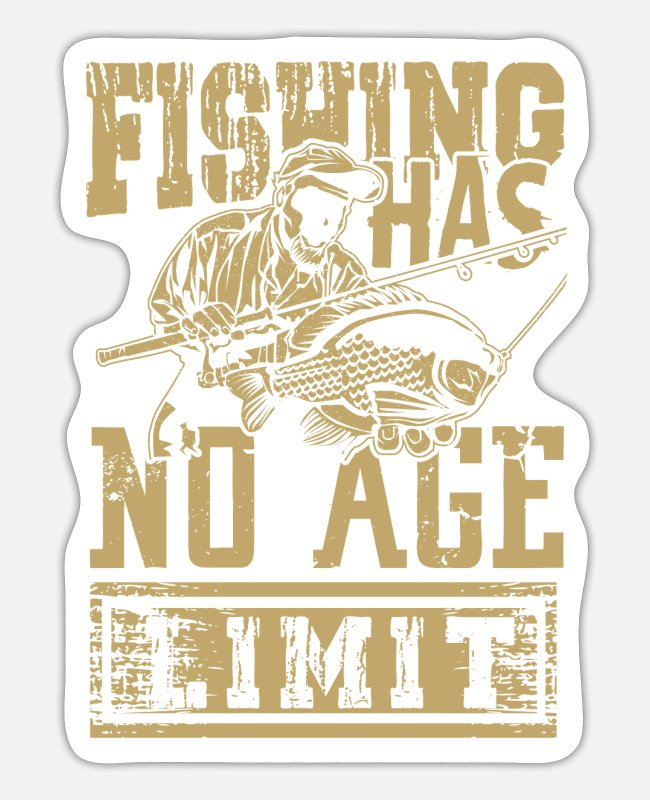 Nature Stickers - Fishing old age pensioner senior pension - Sticker white mat