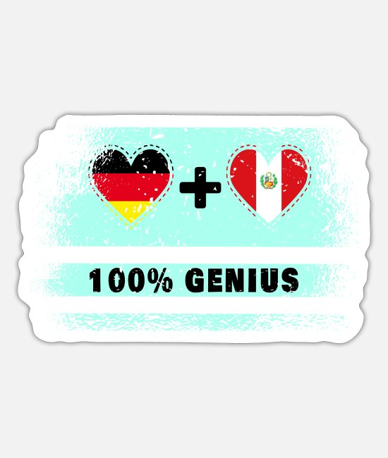 Ingenious Stickers - Germany and Peru 100% brilliant / gift - Sticker white mat