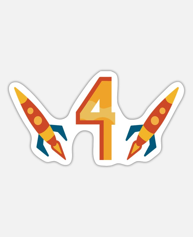 Outerspace Stickers - Missiles with a big four. Children's birthday - Sticker white matte