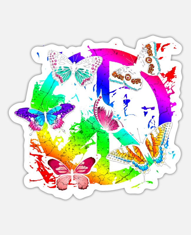 Hippie Sticker - Hippie Schmetterlinge Hippies Flower Power 60s - Sticker Mattweiß