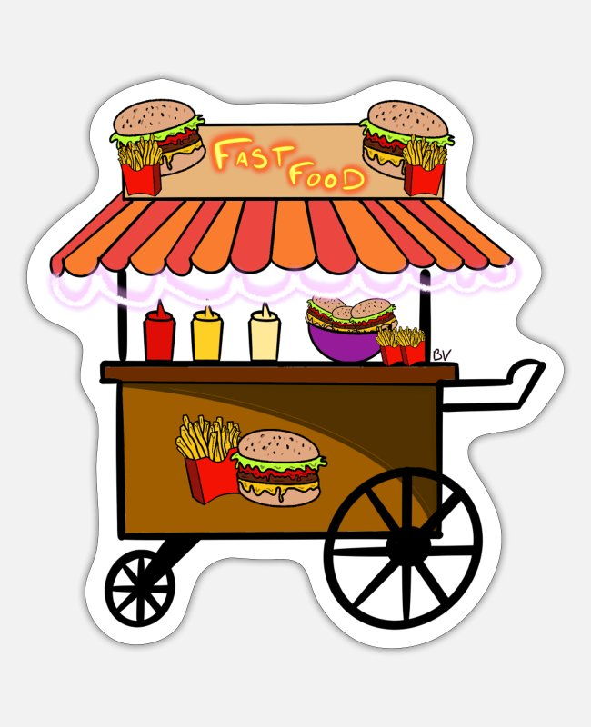 Lecker Sticker - Fast-Food-Food-Truck - Sticker Mattweiß