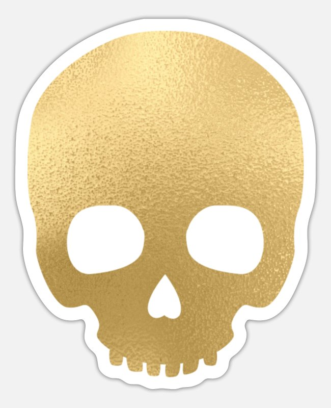 Skull In Gold Stickers - Skull in gold tarot style on black - Sticker white mat
