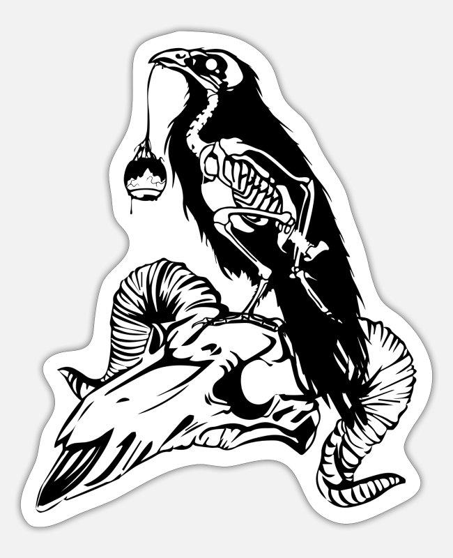 Hardrock Stickers - Raven Skull Zwart - Sticker mat wit