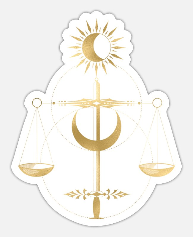 Gold Stickers - Golden Libra Tarot Style Justice - Sticker white mat