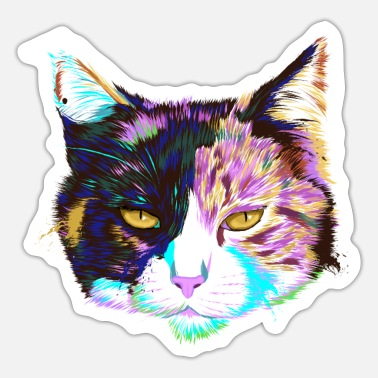 Cats And Dogs Collection Splash Calico Cat - Sticker