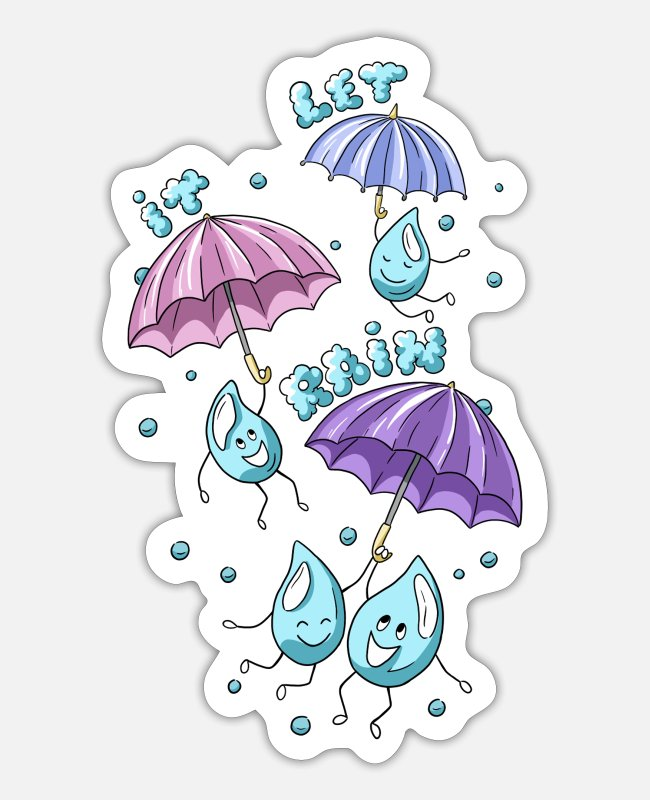 Water Stickers - Rain - Sticker white mat