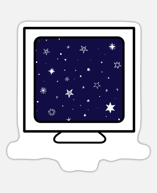 Web Developer Stickers - Computer in space - funny computer - Sticker white mat