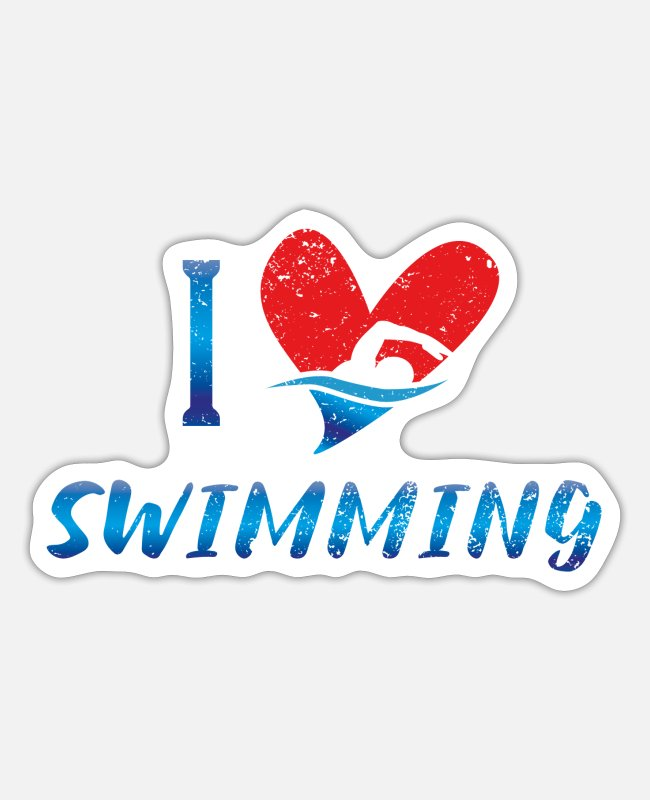 Outdoor Swimming Pool Stickers - I Love Swimming - swimming - Sticker white mat
