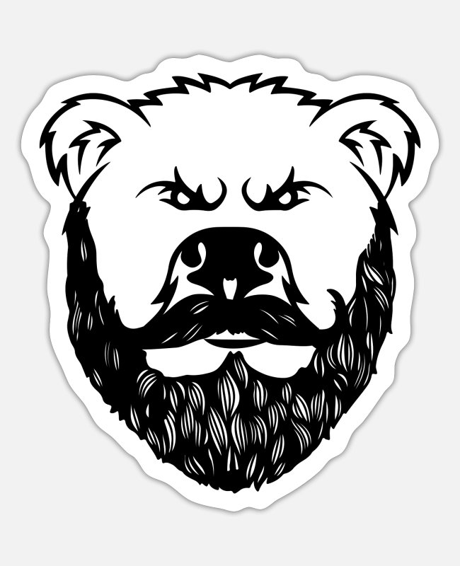 Father's Day Stickers - Bear with a beard - bear with a beard - Sticker white mat