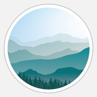 Landscape in cartoon style - landscape - Sticker