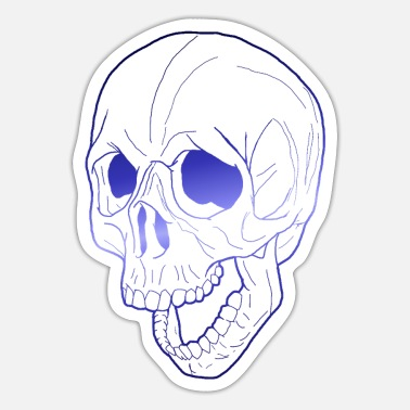 Kiefer screaming skull blue outlines - Sticker