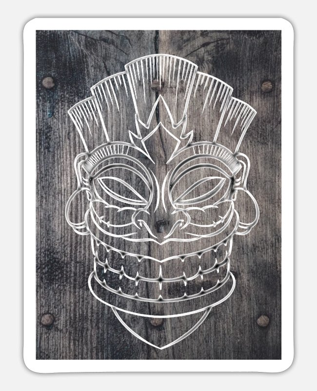 Bad Taste Stickers - tiki mask on wood - Sticker white mat