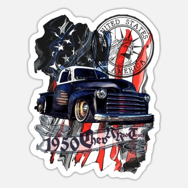 Truck 1950 Chev V8 Vintage pick-up truck blauw zwart - Sticker
