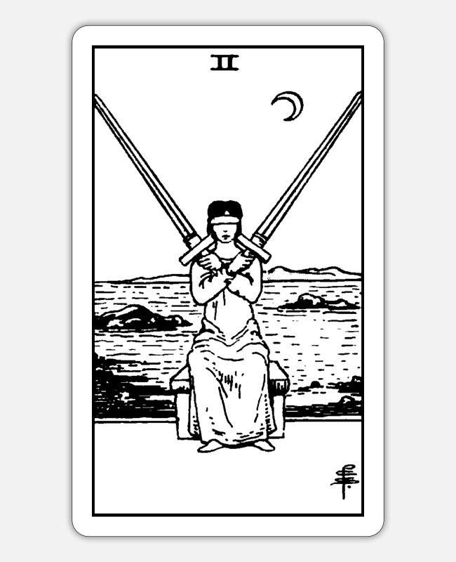 "Tarot Card Stickers - Tarot card ""two of swords"" - Sticker white mat"