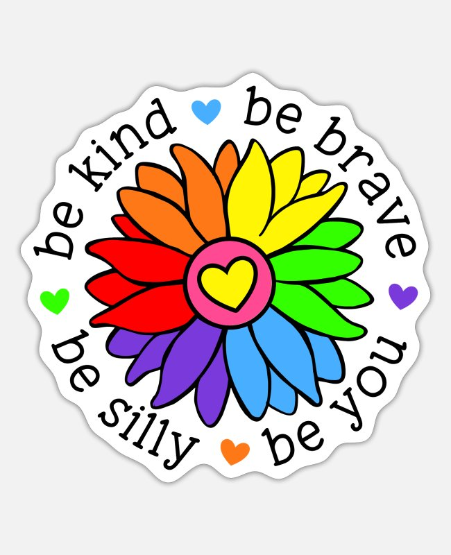 Silly Stickers - Be Kind Be Brave Be Silly Be You - Sticker white matte