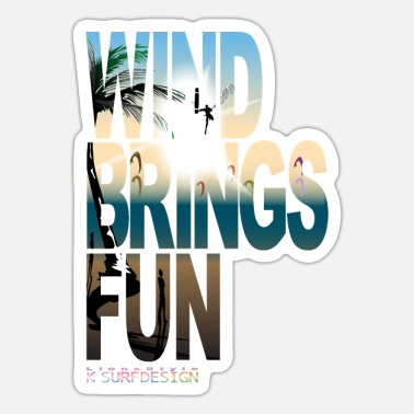 Kitesurfing Font WIND BRINGS FUN kitesurfing - Sticker